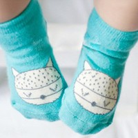 Animal Infant Baby Fox Printed Cotton Knee Socks Anti-slip Socks 0-4Y New Arrival