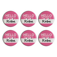 Reba Hello My Name Is Plastic Resin Button Set of 6