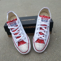 Custom Converse with Bedazzled Toe and Fabric