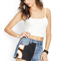 FOREVER 21 Team Spirit Denim Cutoffs Medium Denim/Black