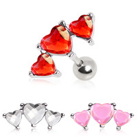 316L Surgical Steel Triple Heart Cartilage Earring