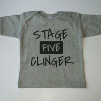 Stage Five Clinger Baby Shirt, Toddler Shirt, Lap Tee, Cute, Babies, One Piece, Gold, Baby gift, Baby Boy Clothing, Grey w/ Black, Boy Shirt
