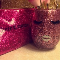 Lashes and Lips Glittered Makeup Brush Holder