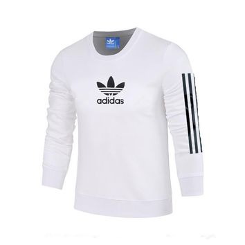 ADIDAS Clover autumn and winter striped breathable sports and leisure pullover sweater white