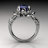 Nature Inspired 14K White Gold 2.0 Carat Oval Blue Sapphire Diamond Lotus Flower Engagement Ring R1013-14KWGDBS