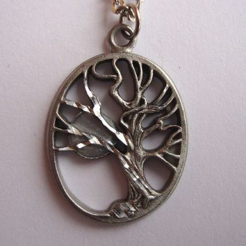 Antique Silver Tree of Life and Moon - Serene Night