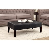 Radiant Black Faux Leather Authentic Coffee Table