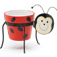 Ladybug Planter Stand With Clay Flower Or Plant Pot