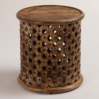 Tribal Carved Wood Accent Table - World Market
