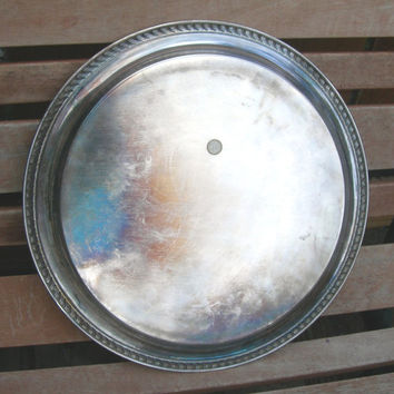 Silver-plate Tray - William Rogers - Vintage Kitchen - Round Buffet Tray - Tea Serving Tray - Holiday Dinners - Wedding, Bridal - Barware
