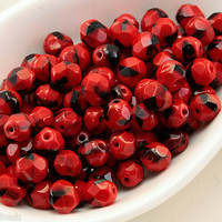 6mm Faceted Beads, Red and Black Fire Polished Glass, Opaque Czech Round Beads (35)