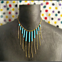 turquoise and gold bib necklace by alapopjewelry
