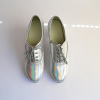Mirrored soft holographic vegan faux leather pony oxford shoes (Handmade to order)