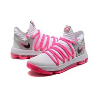 Nike Zoom KD 10 White/Pink Basketball Shoe