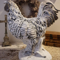 Hand painted rooster statue large white  French farmhouse gray distressed bird figure country kitchen table home decor anita spero design