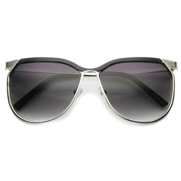 Modern Oversize Two Toned Thin Metal Aviator Sunglasses 9863