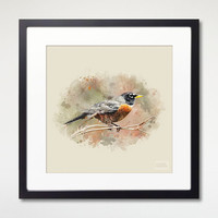 American Robin Art Print With Frame, Watercolor Art, Home Decor, Room Wall Art, Bird Art Framed Print