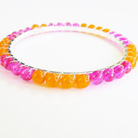 Candy pink and Celosia Orange 0.99 sterling silver stackable bangle, silver bangle, neon bangle, summer bangle, colorful bangle, fluorescent
