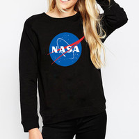 NASA print fashion women long sleeve sweatshirt o ncek loose alien swag