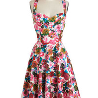 Louche Vintage Inspired Mid-length Spaghetti Straps A-line Garden Home Tour Dress in Pink