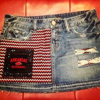 Arkansas Razorback Studded Upcycled Vintage Denim Skirt