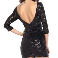 Black Long Sleeves Sequined Backless Mini Dress