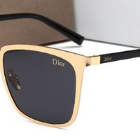 DIOR Women Men Fashion  Popular Summer Sun Shades Eyeglasses Glasses Sunglasses Golden/Blue G-HWYMSH-YJ