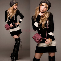 Women's Long Sleeves Knit Sweater Buttoned Scoop Neck Cocktail Party Mini Dress 8921 One Size Vestidos (Color: Black) = 1919919812