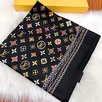 LV Fashion New Multicolor Monogram Print Scarf No Box Black