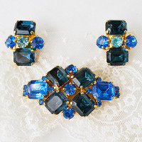 earrings and brooch vintage blue crystals