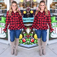 Woven Red & Black plaid top