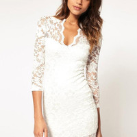 Lace V-Neck Half Sleeve Mini Bodycon Dress
