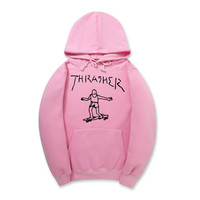 Pink Unisex Hip-hop Long Sleeve Round-neck Hoodies