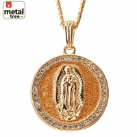 Jewelry Kay style Men's 14k Gold Plated Medallion Guadalupe Pendant Cuban Chain Necklace MP 77 G