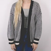 Vintage Black and White Varsity Striped Cardigan Sweater