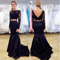 A-line Two Pieces Black Lace Prom Dresses Evening Dresses