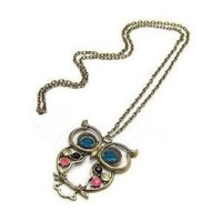 MBOX Vintage blue eyes owl charm long necklace cute pendant retro jewelry With Gift Box