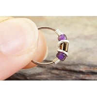 Deep Plum Purple and Gold Beaded Hoop 18 or 20 Gauge Nose Hoop Ring Cartilage Hoop Earring