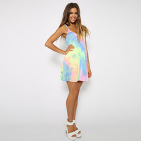 2015 Rainbow Color Leisure Dress Thin Bohemia Neon Braces Skirt