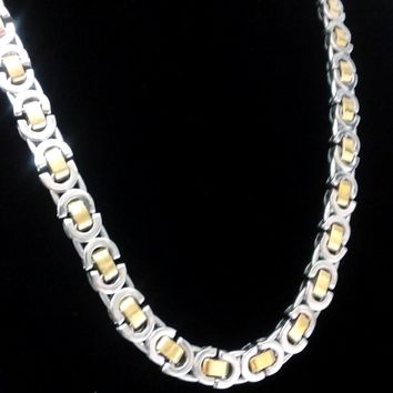 LYNX 22 inch Two Tone Flat Byzantine Link Stainless Steel Necklace