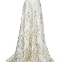 Toga-Inspired Metallic Top with Beaded Neckline & Floral Jacquard Skirt with Metallic Highlights