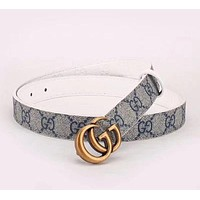 Gucci Woman Men Fashion Smooth Buckle Belt Leather Belt-4