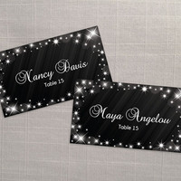 DIY Printable Wedding Place Name Card Template | Editable MS Word file | 3.5 x 2 | Instant Download | New Years Heaven Sparkles Black