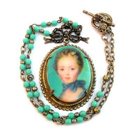 Vintage Cameo Necklace, Victorian, French Lady Cameo