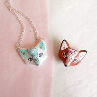 Fox necklace or brooch. Pick your color or personalize it. One of a kind.