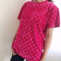 Louis Vuitton lv new 3D embossed letters tide gold velvet blouse loose and thin large size short-sleeved T-shirt