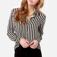 Little White Lines Black and White Striped Top