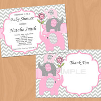 Girl Baby Shower Invitation Elephant Baby Shower Invitation Baby Girl Shower Invitation Baby Shower Invite Pink (50-1) - Free Thank You Card