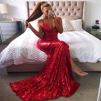 Lady in Red Sequin Maxi Dress