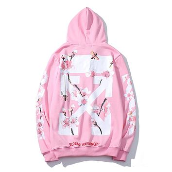 OFF-White new jacket, cherry blossom arrow cross pattern men's and women's hoodie